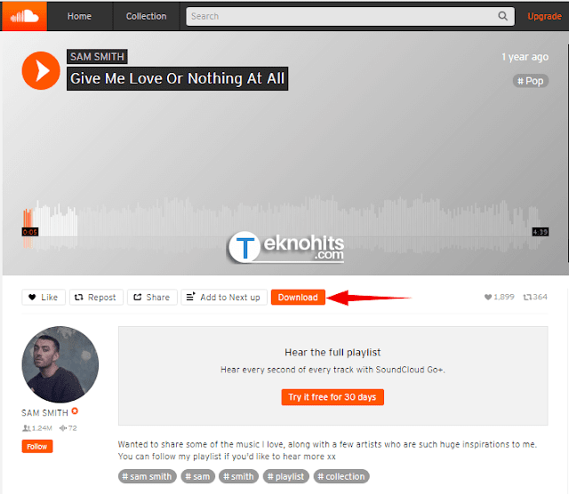 Download 1 lagu atau playlist SoundCloud