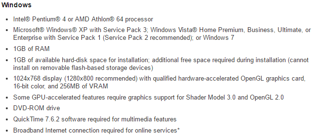 Adobe Photoshop CS5 Extended System Requirements