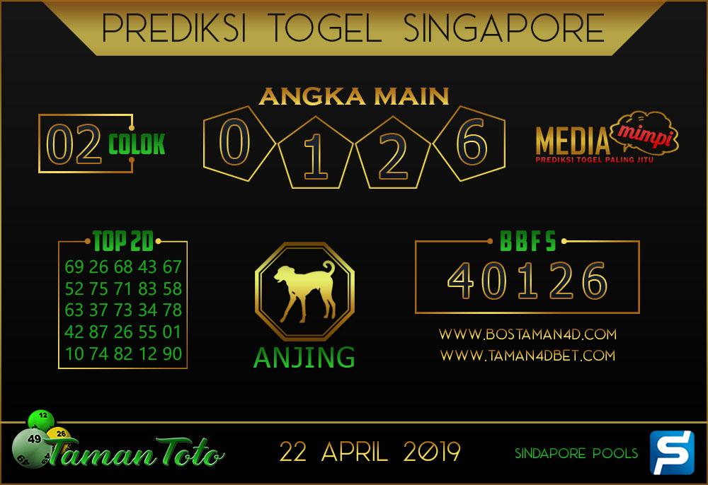 Prediksi Togel SINGAPORE TAMAN TOTO 22 APRIL 2019