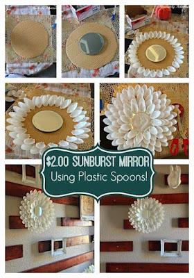 manualidad con espejo y cucharas de plastico