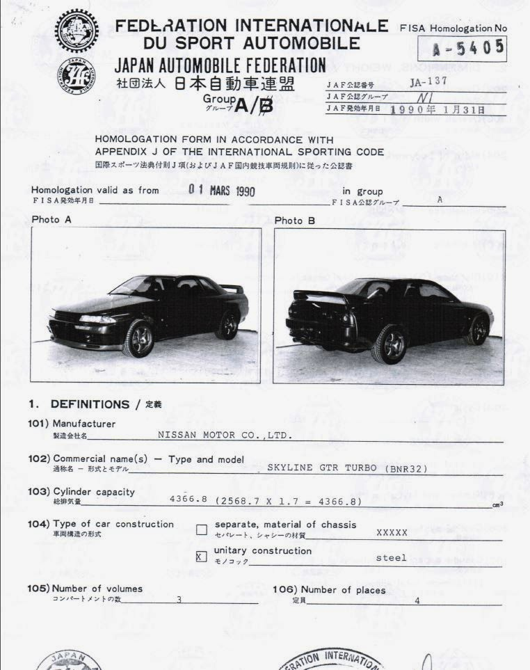 FIA Group A Homolgation Papers R32 GT-R NISMO - GT-R