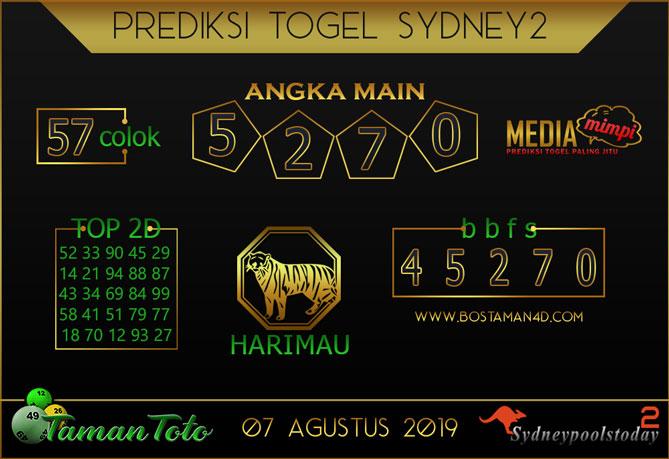 Prediksi Togel SYDNEY 2 TAMAN TOTO 07 AGUSTUS 2019