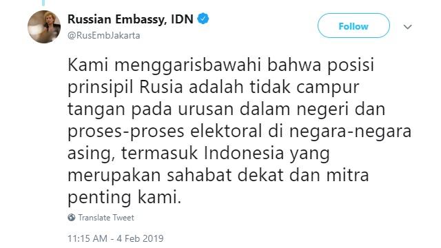 Rusia Tepis Jokowi Soal 'Propaganda Rusia'