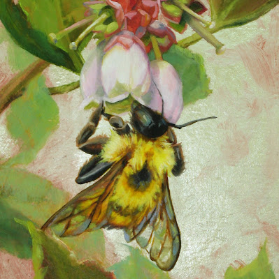 """Bee on Blueberry Blossoms"" oil and silver leaf"