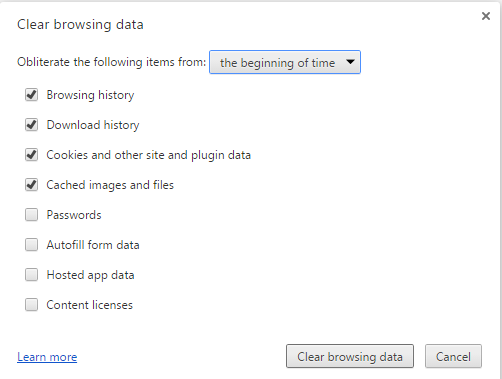 Delete Browsing History and Internet Cookies on chrome