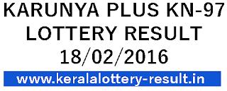 Kerala Lottery Result, Kerala Bhagya kuri result, Karunya Plus Lottery result, Karunya Plus KN 97 result 18-02-2015, Kerala lotteries karunya plus KN97 today, Check winng number of Karunya Plus Lottery 18/02/2016, Keralalotteries result, Karunya Plus Lottery Result  KN-97 online