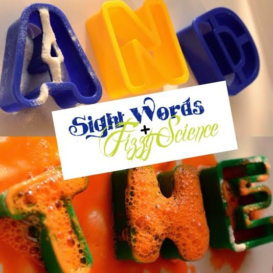 Fizzy sight words that makes learning sight words fun, by adding paint, baking soda, and vinegar to plastic letters.