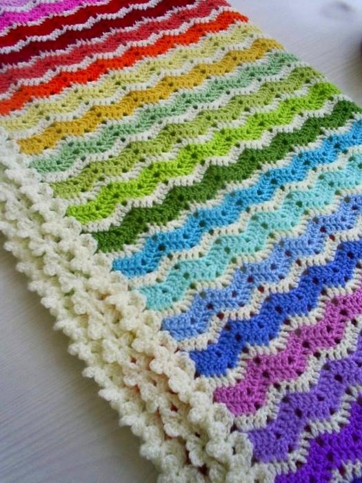 Crochet Blanket Easy To Do In Zig Zag Points On Yarns Patterns