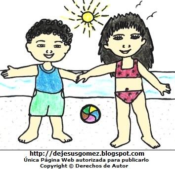 Dibujo de la estación de verano a color  (Niños en la playa en pleno verano). Dibujo de la estación de verano hecho por Jesus Gómez