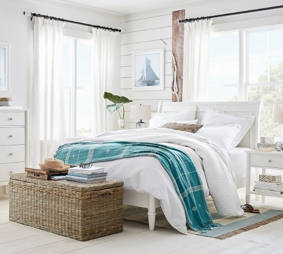 White Beach Bedroom Decor Idea | Pottery Barn - Beach Home ...