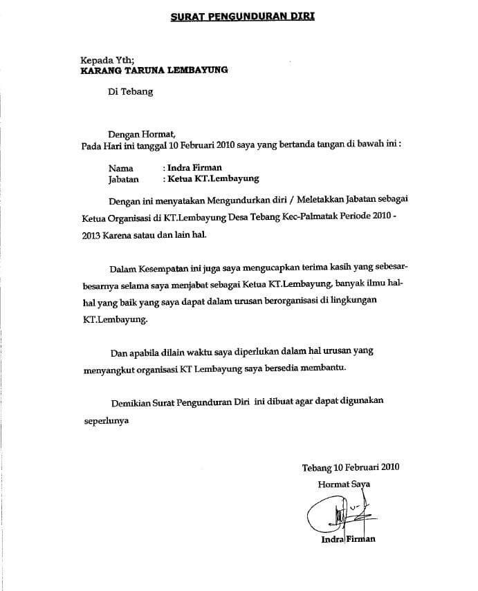 Contoh Surat Pengunduran Diri Dari Jabatan Direktur Utama ...