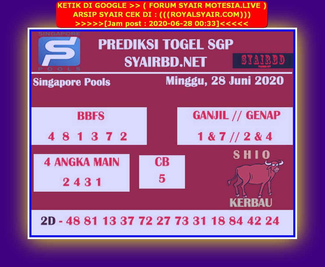 Kode syair Singapore Minggu 28 Juni 2020 196