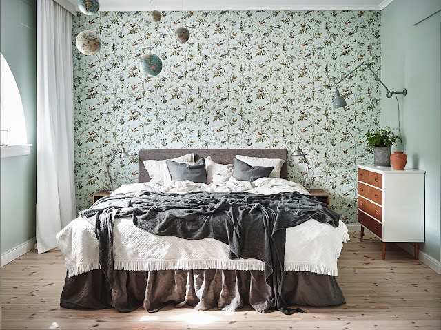 dormitor cu tapet vegetal