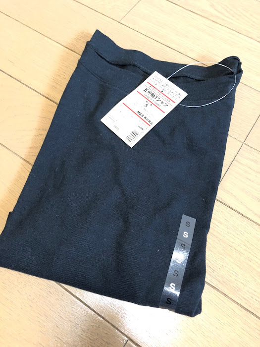 無印五分袖Tシャツ