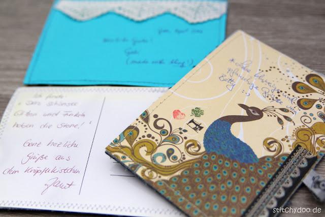 Stoffkartentausch 2016 | Spitze, Glitzer, Blingbling - Rückseiten der Stoffkarten