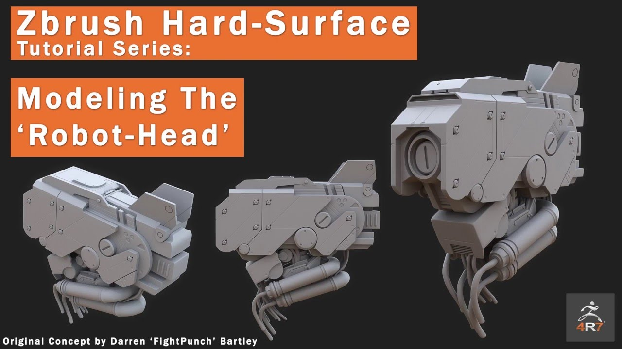 3D is my life: Gumroad - Zbrush 4R7 ' Robot Head' modeling