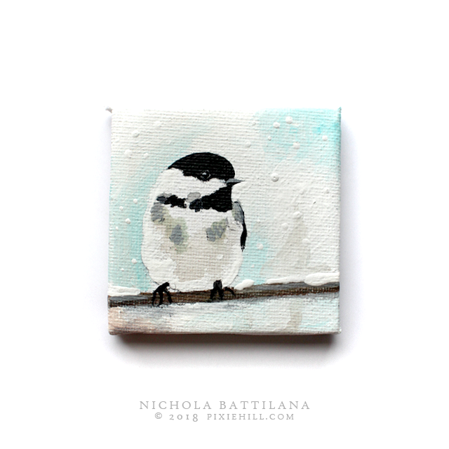 Wee winter bird, acrylic on canvas - Nichola Battilana