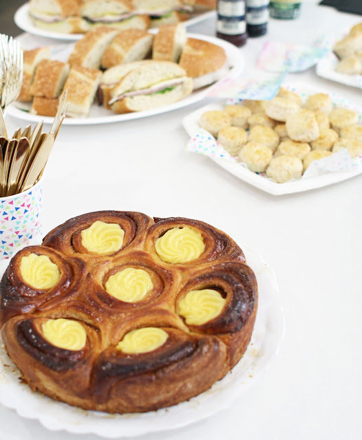 Pastries, custard, baby shower, Lbloggers, Fbloggers, style, table setting, pregnancy blog