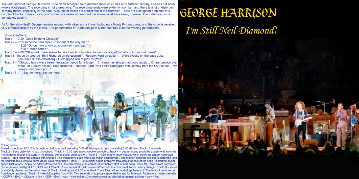 T U B E : George Harrison - 1974-11-30 - Chicago, IL (AUD