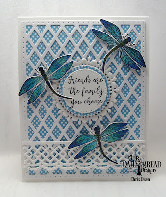 Our Daily Bread Designs, created by Chris Olsen, Friend to Friend stamp die duo, the Lattice Background die, Pierced Circles, Fancy Circles dies, Beautiful Borders dies, and Boho Bold Paper Pad
