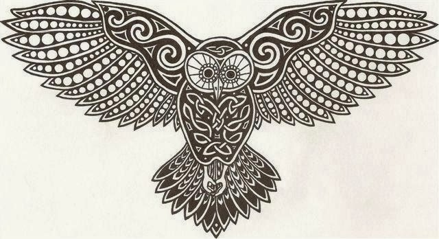 Flying owl tribal tattoo stencil