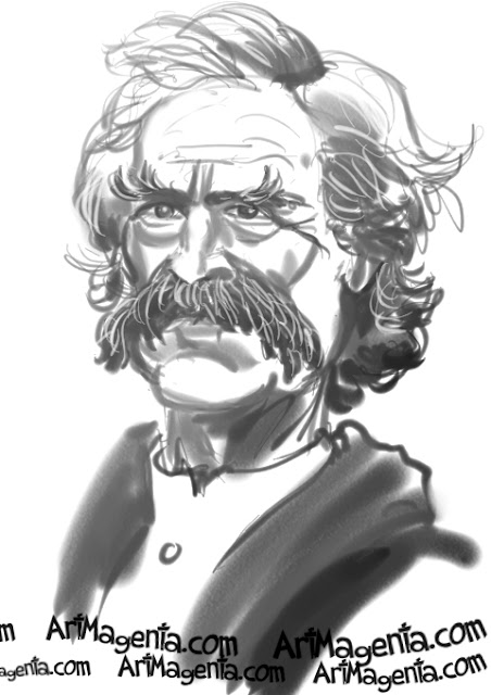 Mark Twain caricature cartoon. Portrait drawing by Artmagenta.