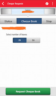 Kotak 811 cheque book requesting page