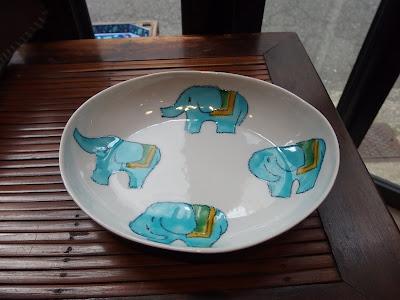 村田奈穂美 カレー皿 青い象