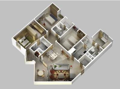 Contoh Foto Denah Rumah Minimalis 1 Lantai 3 Kamar