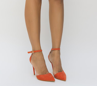 pantofi de ocazii cu toc inalt decupati portocalii
