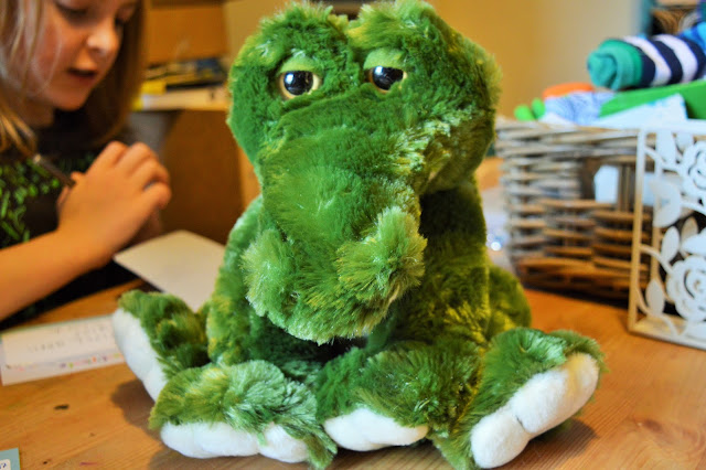 a stuffed toy crocodile.