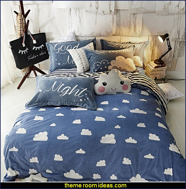 Clouds Duvet Cover Set Blue Printing Bedding Set Black White Stripe Flat Sheet