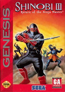 Portada del cartucho de Shinobi III: The Return of the Ninja Master de Sega Megadrive, 1993