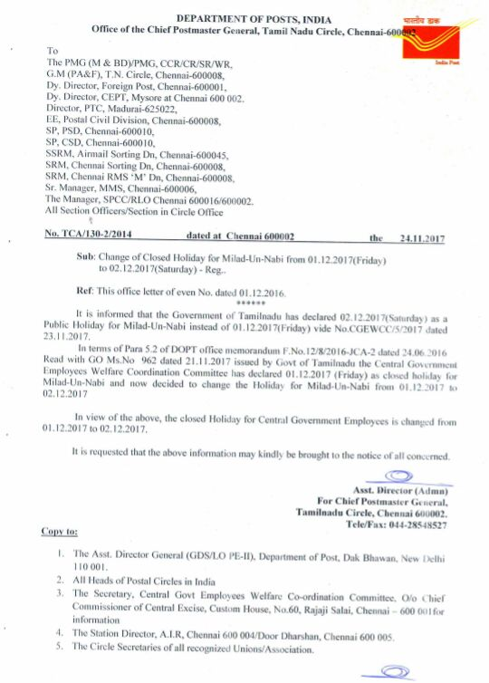 Change Of Closed Holiday For Milad Un Nabi From 01122017 To