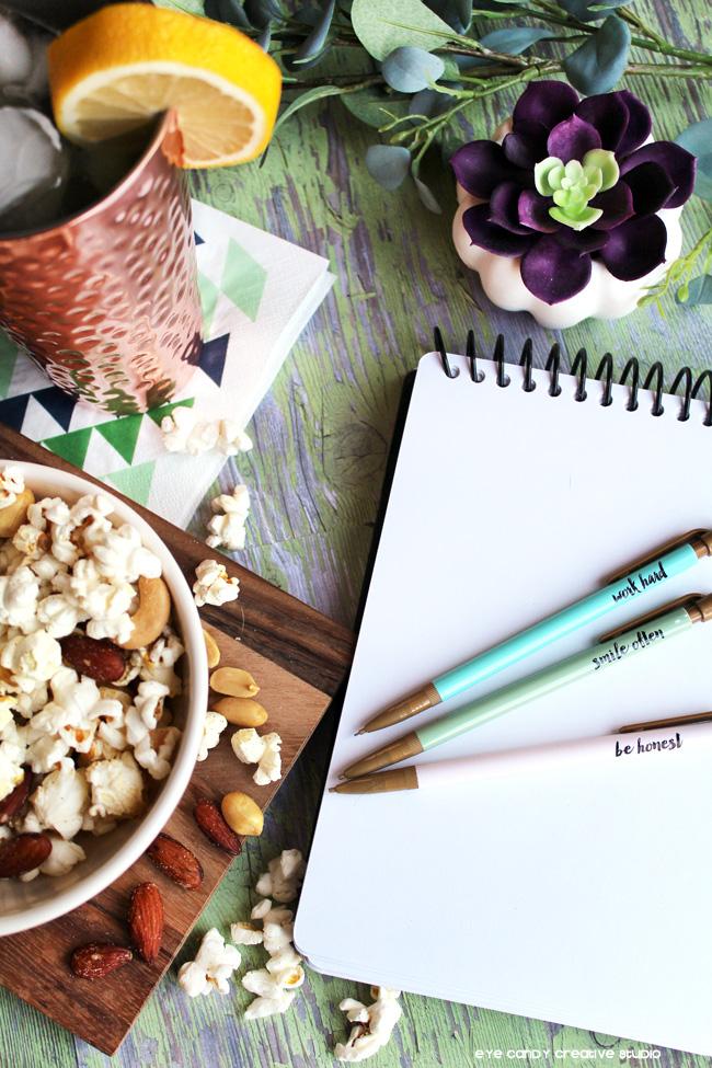 popcorn snack idea, sketchbook, be honest, work hard, smile often