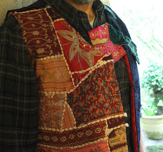 refashioning a patchwork waistcoat from a hobo bag
