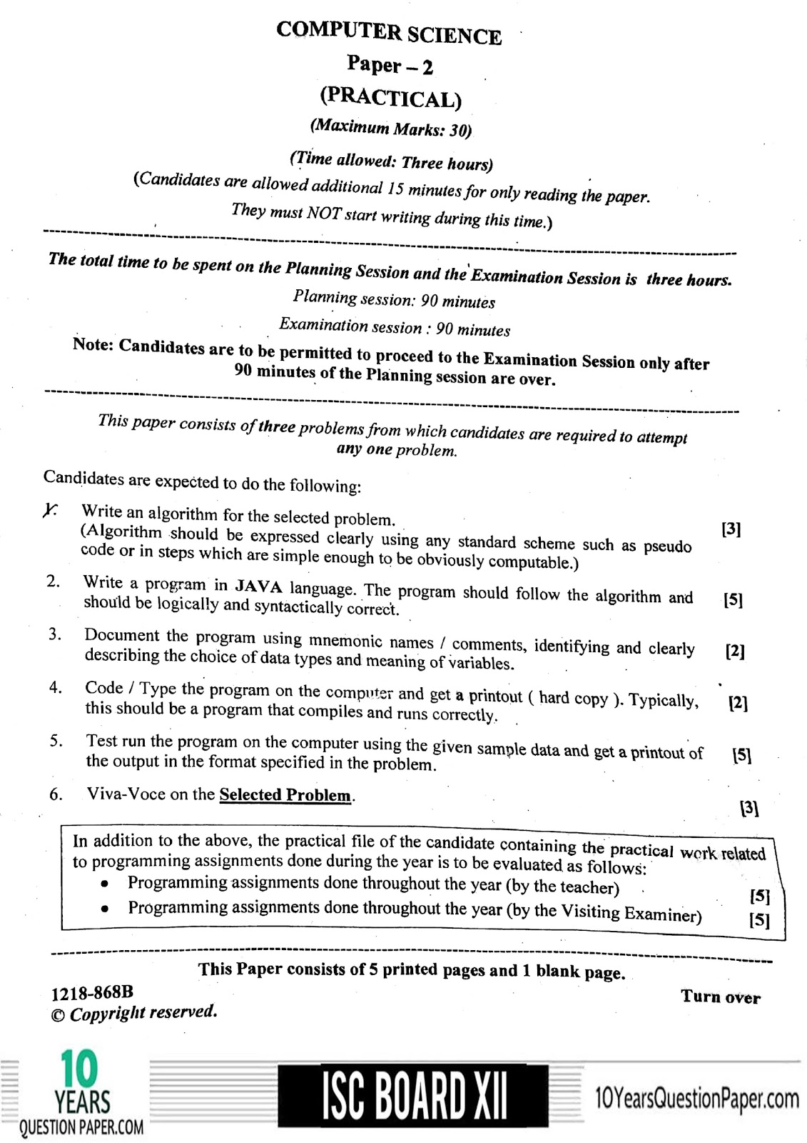 ISC 2018 class 12th Computer Science Practical question paper