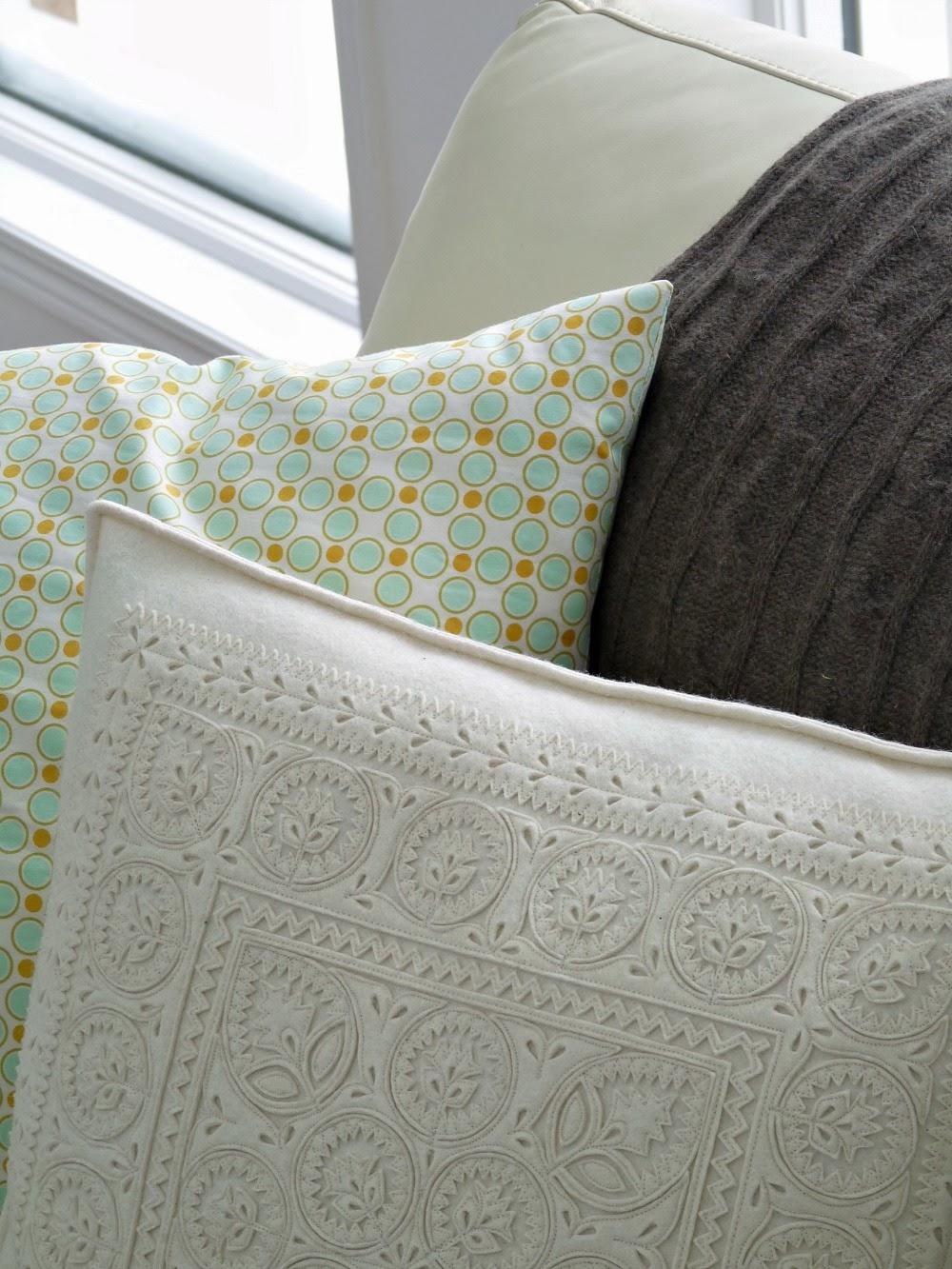 Textured Cream Wool Pillow