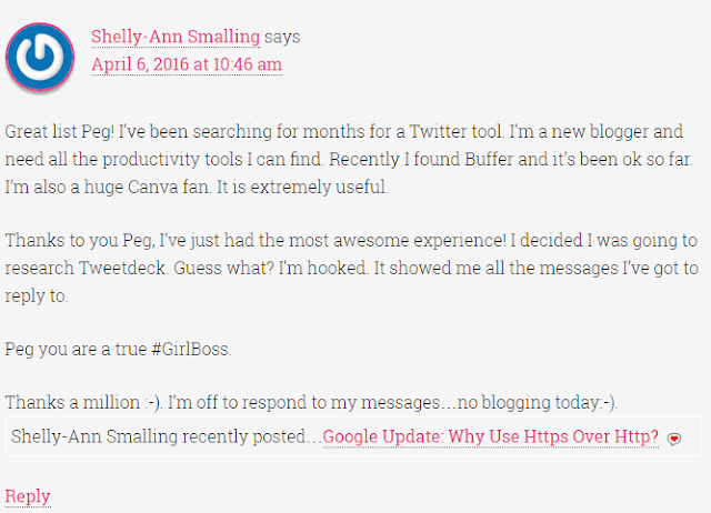 Comment made by Shelly-Ann Smalling on Peg Fitzpatrick's Site