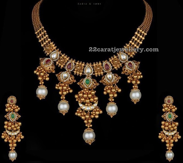 Gold Balls Pearls Hanging Antique Set