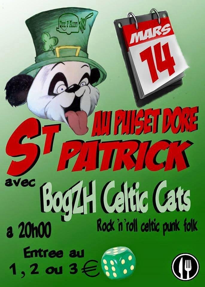Affiche St PAtrick 2015 Puiset Doré - Maine-et-Loire avec BogZH Celtic Cats ! Rock 'n' roll celtique punk folk