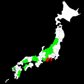 既にタンデム可の地域を緑で塗ってある: 長野,兵庫,愛媛,広島,山形,新潟,宮崎,佐賀,愛知,群馬,京都,富山,大阪 12月1日から可となる静岡県を赤で塗ってある