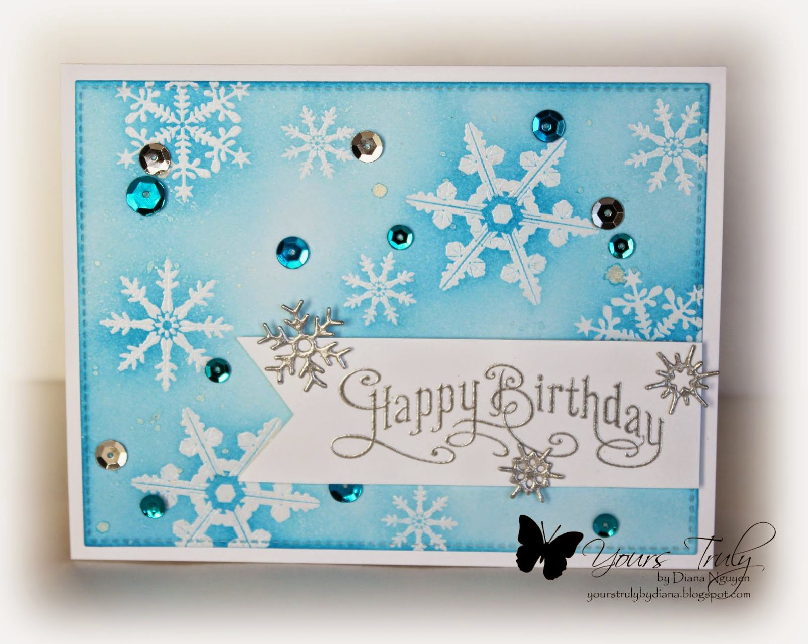 Our Daily Bread Designs, Snowflake, frozen, birthday, card, Diana Nguyen