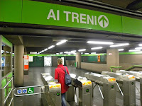 Milan Metro turnstile ticket at entry gate Porta Genova Station ATM