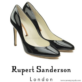 Crown Princess Mary wore Rupert Sanderson Navy Patent High Heel Pumps