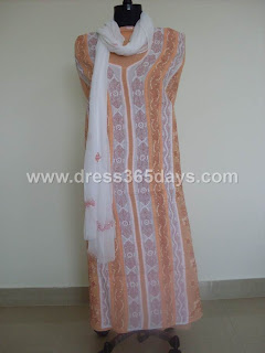 Peach Chikakari Dress Material