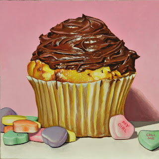 one big sentimental cupcake with chocolate frosting and candy hearts acrylic painting by artist kim testone