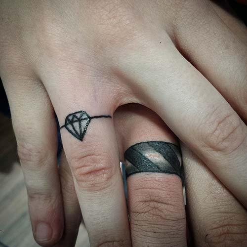 wedding ring finger tattoo for couples çiftler için yüzük parmağı dövmeleri 4