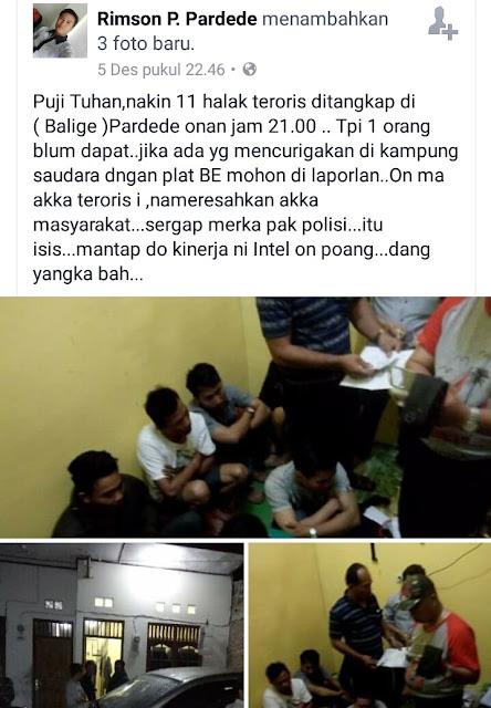 GEGER, 11 Terduga Teroris Ditangkap di Balige, 1 Melarikan Diri