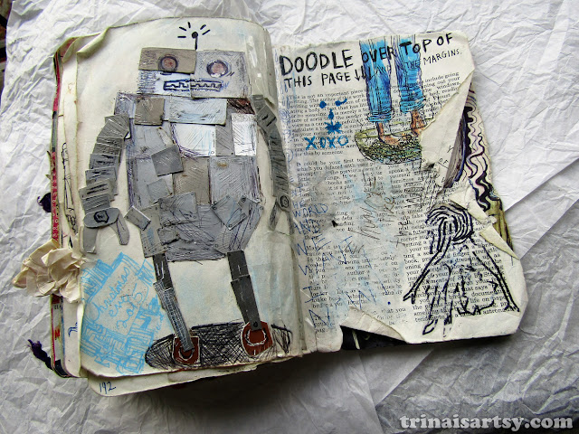 Wreck this Journal - Doodle in the margins with a big silver robot